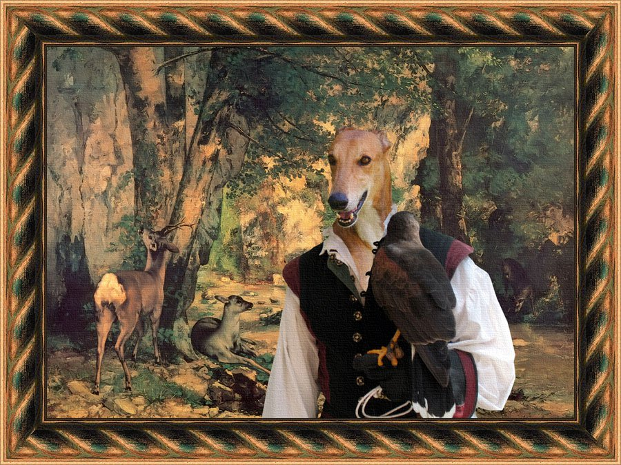 Greyhound Fine Art Canvas Print - Falconer and Deers