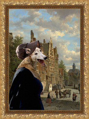 Greyhound Fine Art Canvas Print - Miss Jaine rushed to Love meeting