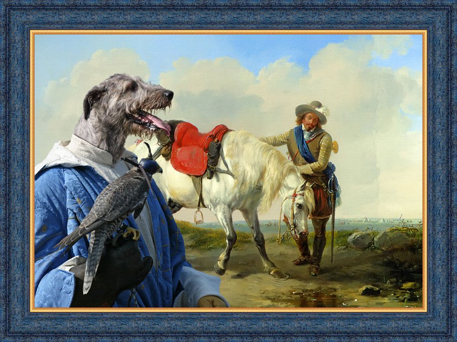 Irish Wolfhound Fine Art Canvas Print - A Cavalier watering his Mount