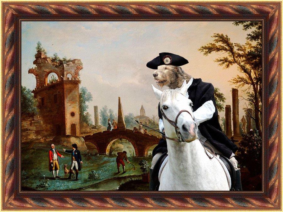 Irish Wolfhound Fine Art Canvas Print - Delay in meeting