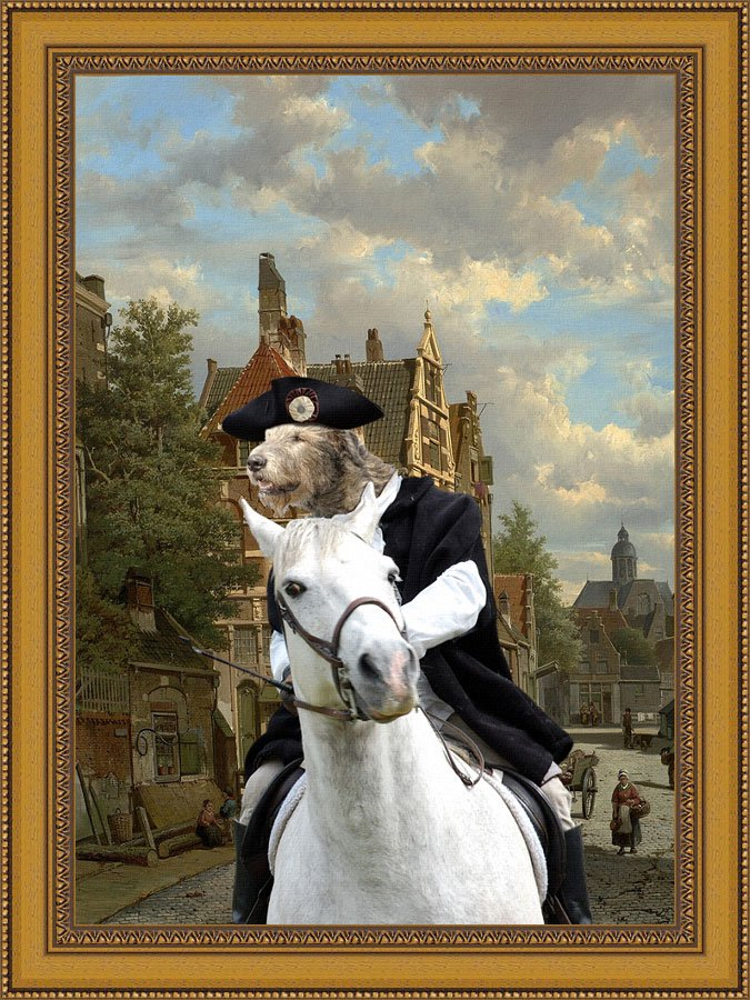Irish Wolfhound Fine Art Canvas Print - Gallop through a Dutch street