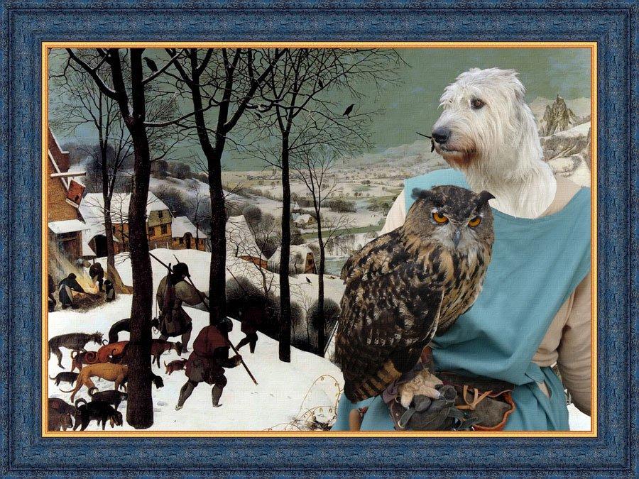 Irish Wolfhound Fine Art Canvas Print - Winter hunters and Lady owl