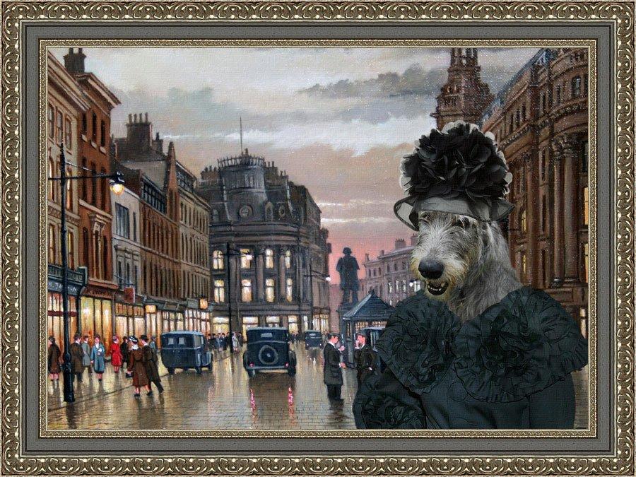 Irish Wolfhound Fine Art Canvas Print - Meeting after work