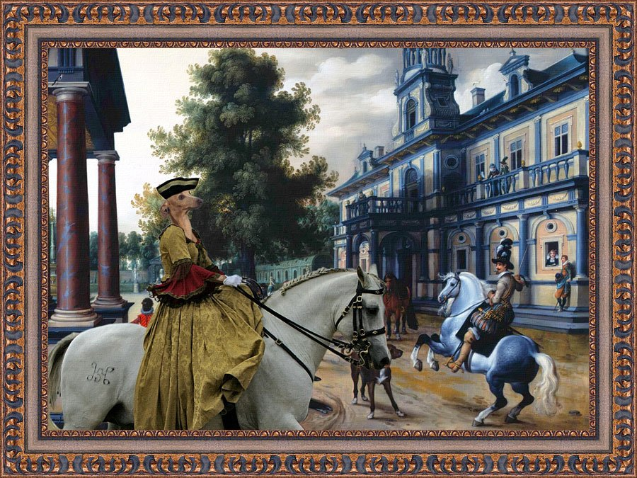 Italian Greyhound Fine Art Canvas Print -  Figures in a Palace Garden and Lady