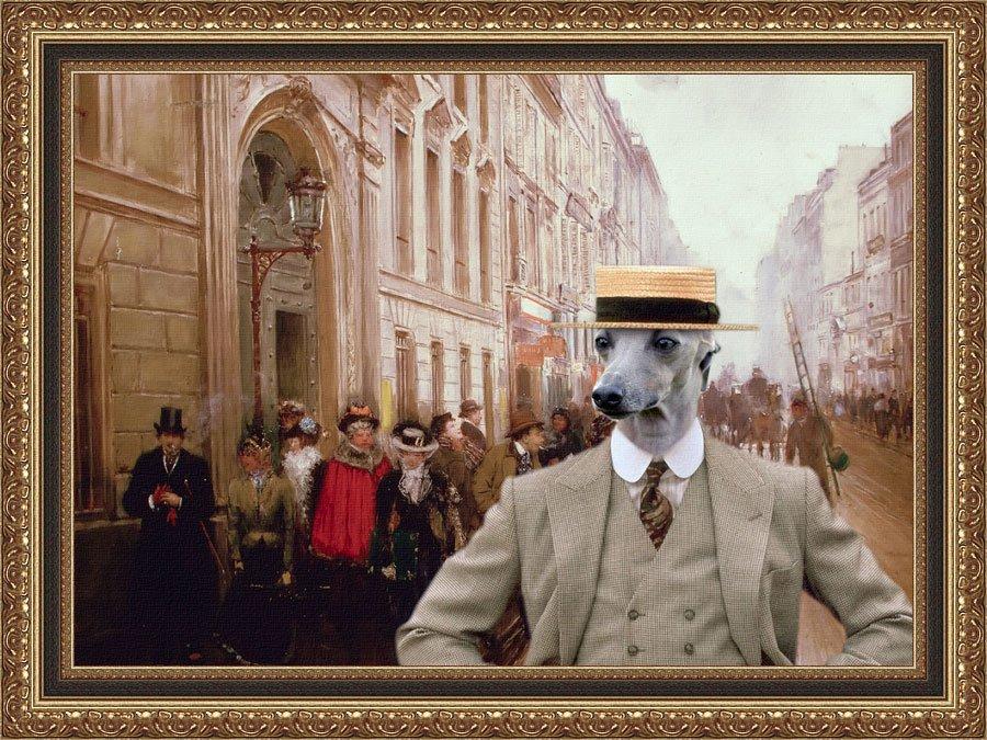 Italian Greyhound Fine Art Canvas Print - Town
