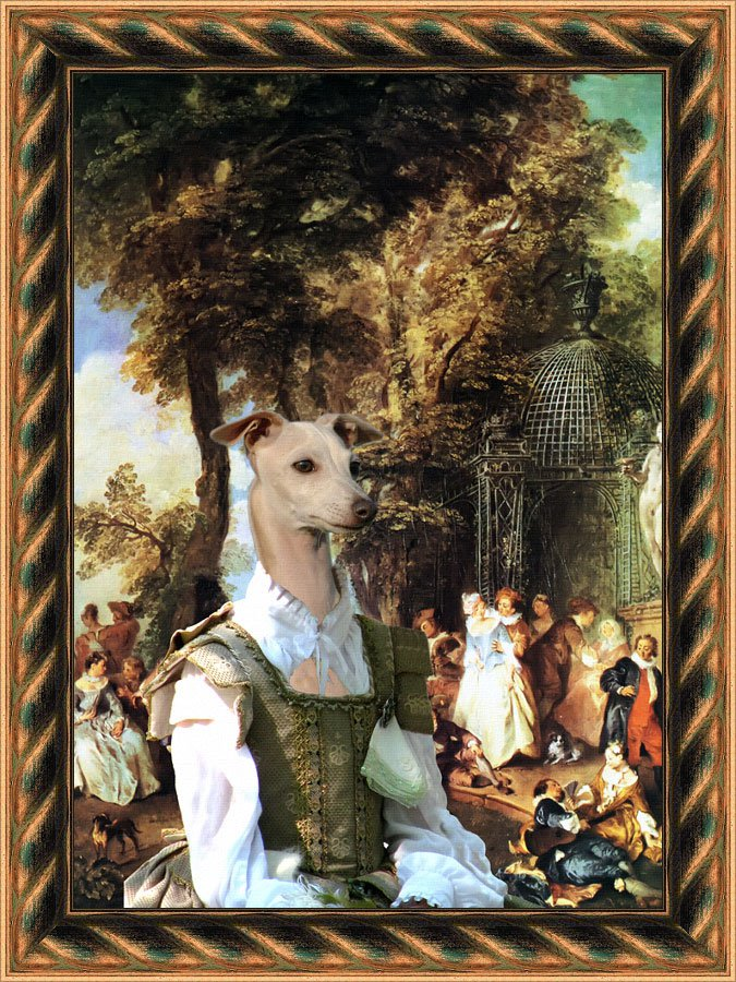 Italian Greyhound Fine Art Canvas Print - The Wrench