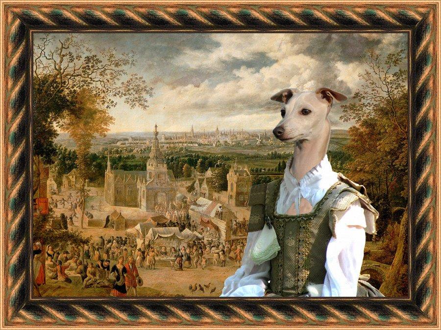 Italian Greyhound Fine Art Canvas Print - Going to the Fair