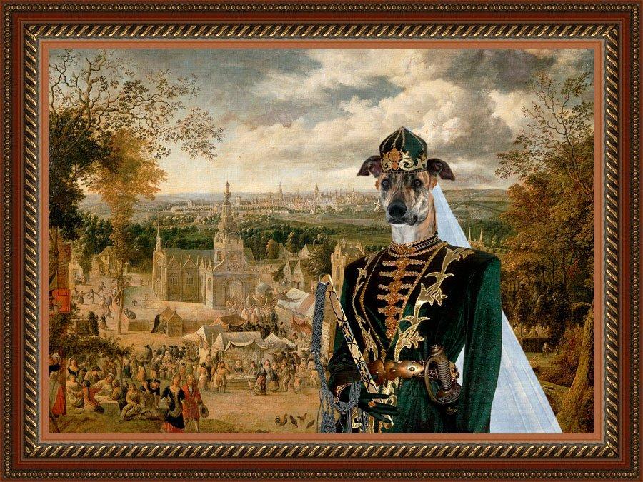 Hungarian Greyhound Fine Art Canvas Print - Hussar lady on fair event