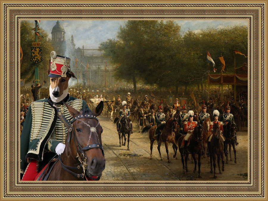 Hungarian Greyhound Fine Art Canvas Print - The pride of the Imperial Quard
