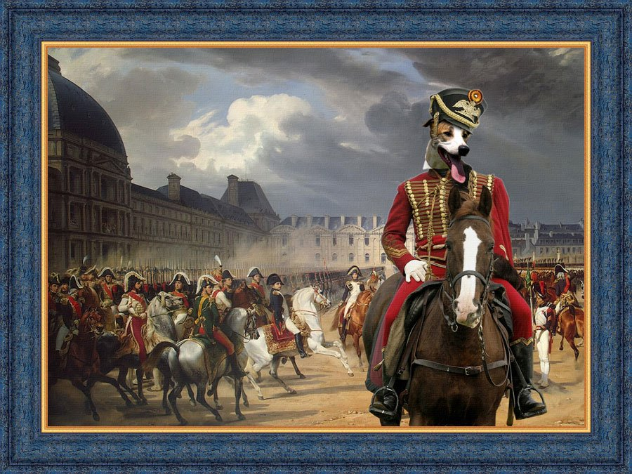 Hungarian Greyhound Fine Art Canvas Print - Napoleon at the Parade