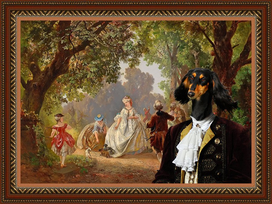 Saluki Fine Art Canvas Print - My Lady and her Dogs