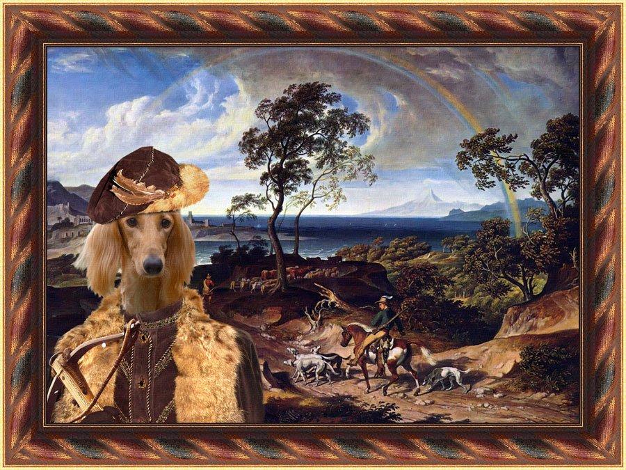 Saluki Fine Art Canvas Print - The landscape with hunters