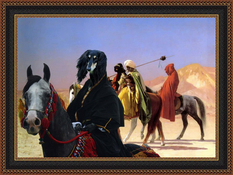 Saluki Fine Art Canvas Print - Bedouin with his beautiful Stallion