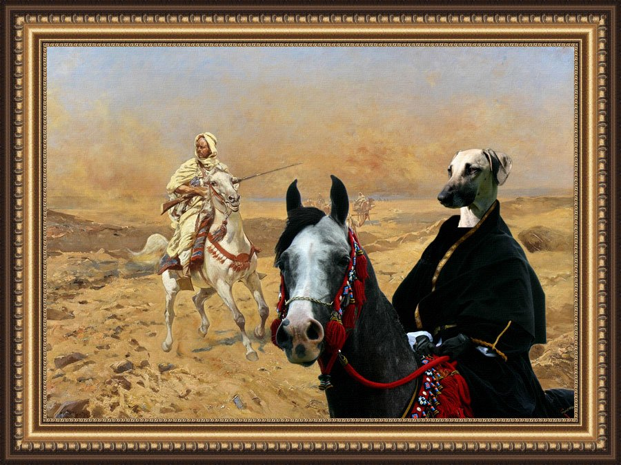 Sloughi Fine Art Canvas Print - Bedouins in the Dessert