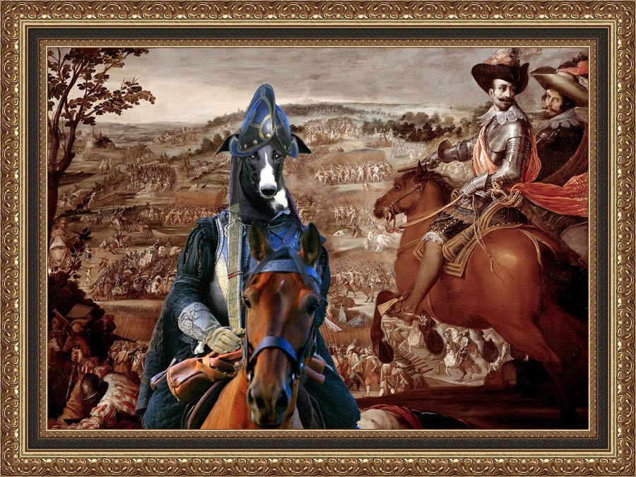 Spanish Greyhound Fine Art Canvas Print - The Battle and Cavalery