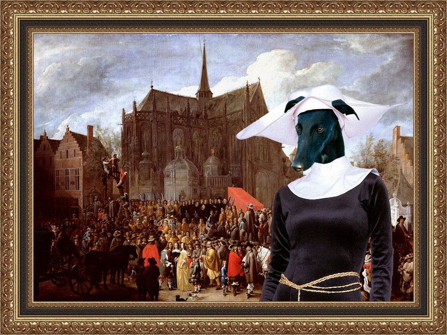 Spanish Greyhound Fine Art Canvas Print - Waiting for the statue of Mary
