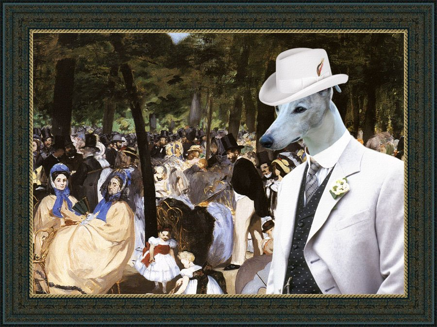 Whippet Fine Art Canvas Print - Music with Tuileries