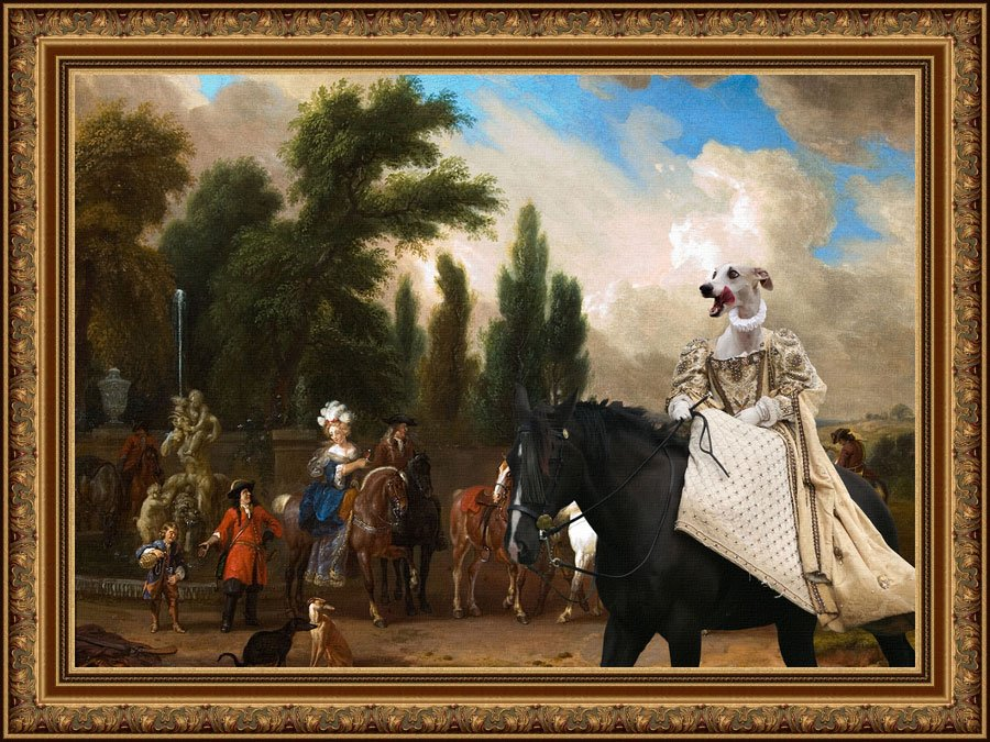 Whippet Fine Art Canvas Print - The Gallant Escort