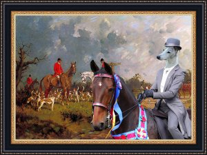 Whippet Fine Art Canvas Print - Starting hunting Foxes