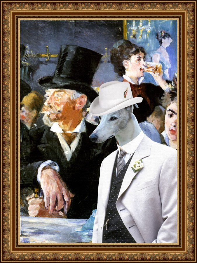 Whippet Fine Art Canvas Print - Gentleman in the Cafe