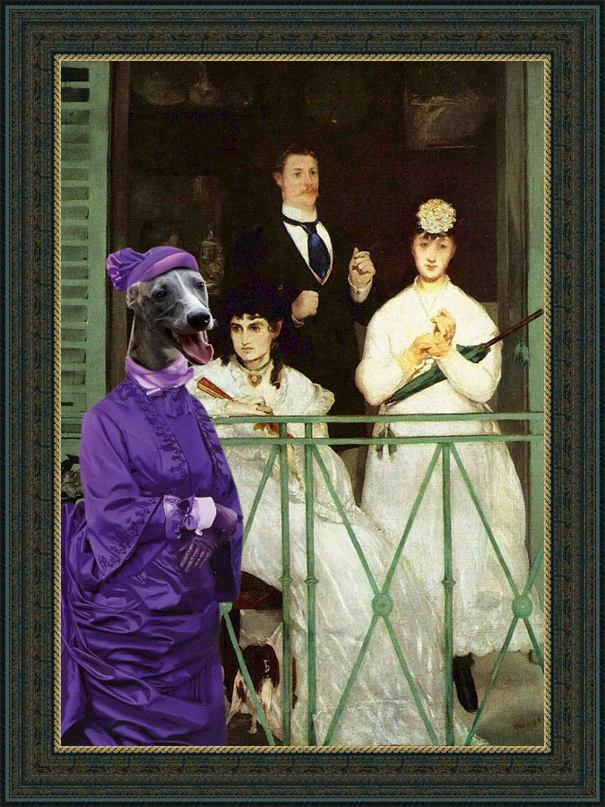 Whippet Fine Art Canvas Print - View from Balcony
