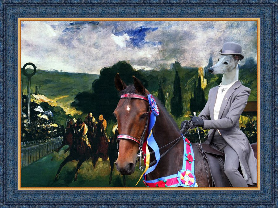 Whippet Fine Art Canvas Print - Who is the Winner of the Race