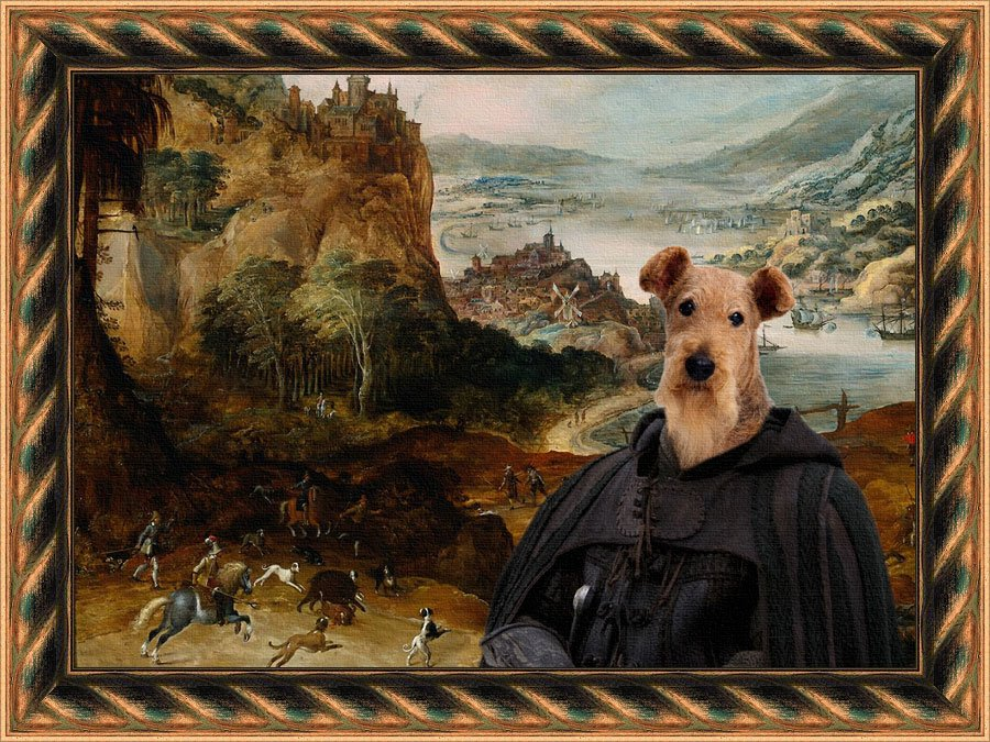 Airedale Terrier Fine Art Canvas Print - Hunting wild boar