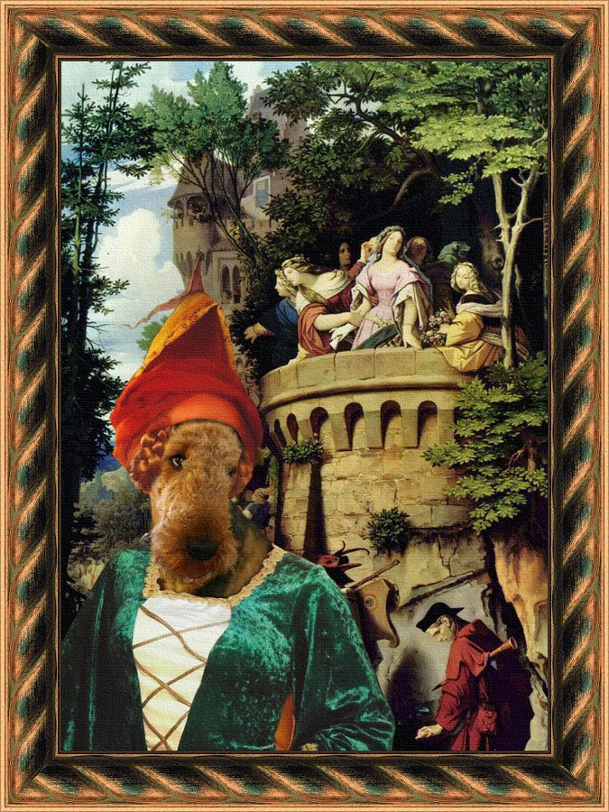 Airedale Terrier Fine Art Canvas Print - See goes to