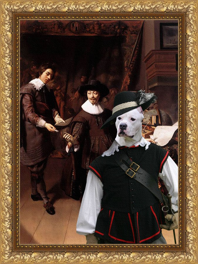American Staffordshire Terrier Fine Art Canvas Print - Constantijn Huygens and his Clerk