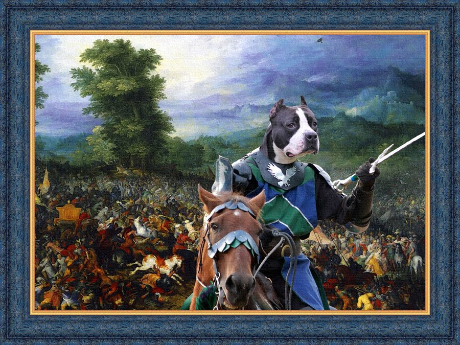American Staffordshire Terrier Fine Art Canvas Print - The battle and brave knight