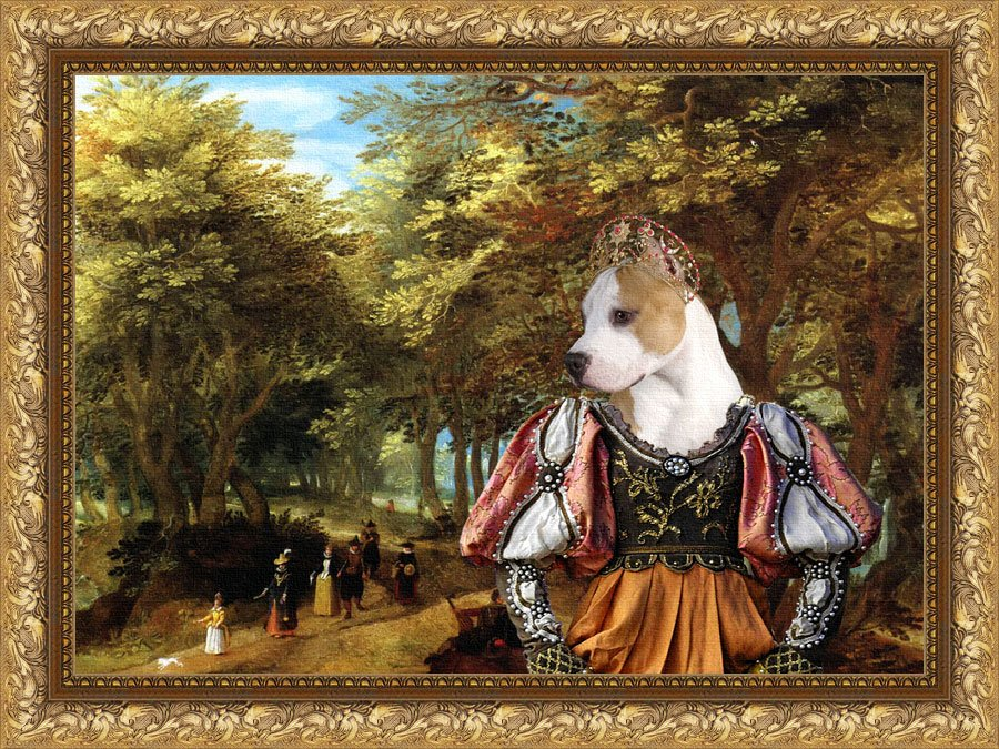 American Staffordshire Terrier Fine Art Canvas Print -  Passage and Princess
