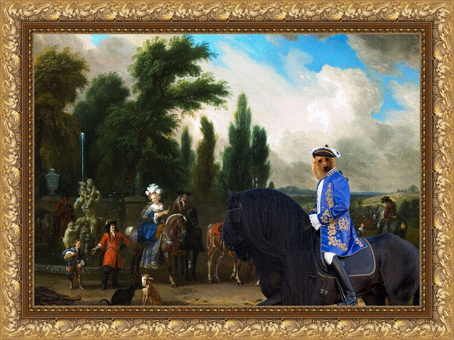Australian Terrier Fine Art Canvas Print -  Landscape with Elegant Figures