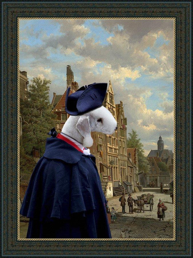 Bedlington Terrier Fine Art Canvas Print - Meeting on the Dutch street
