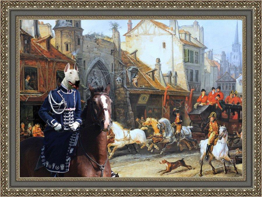 Bull Terrier Fine Art Canvas Print -  Start to Hunt