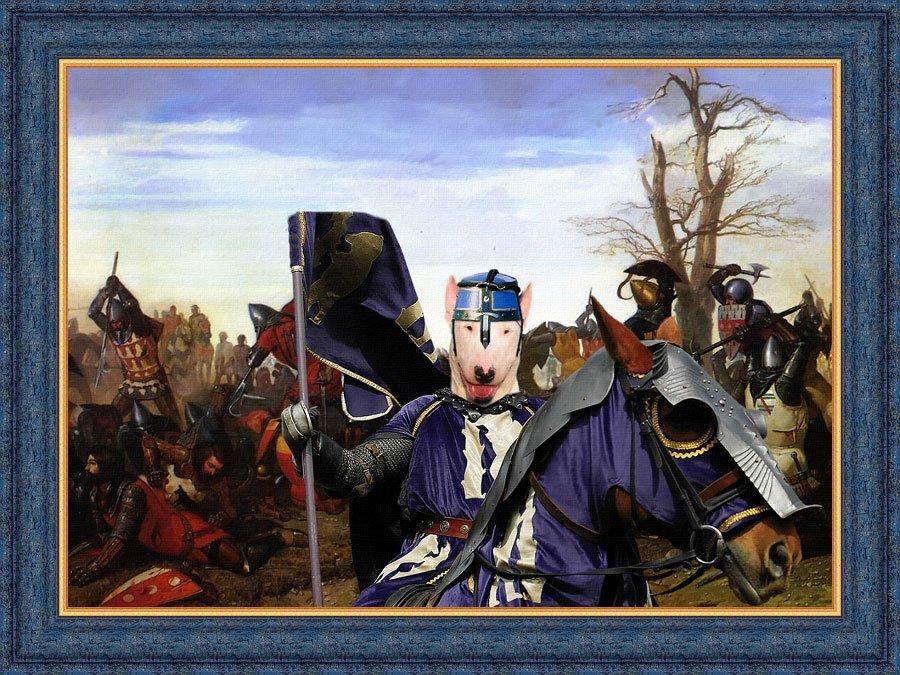 Bull Terrier Fine Art Canvas Print - Le combat de Trente