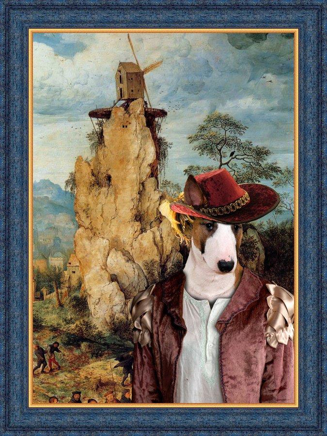 Bull Terrier Fine Art Canvas Print - The strange windmill