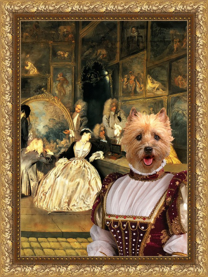 Cairn Terrier Fine Art Canvas Print - At the artdealer's shop