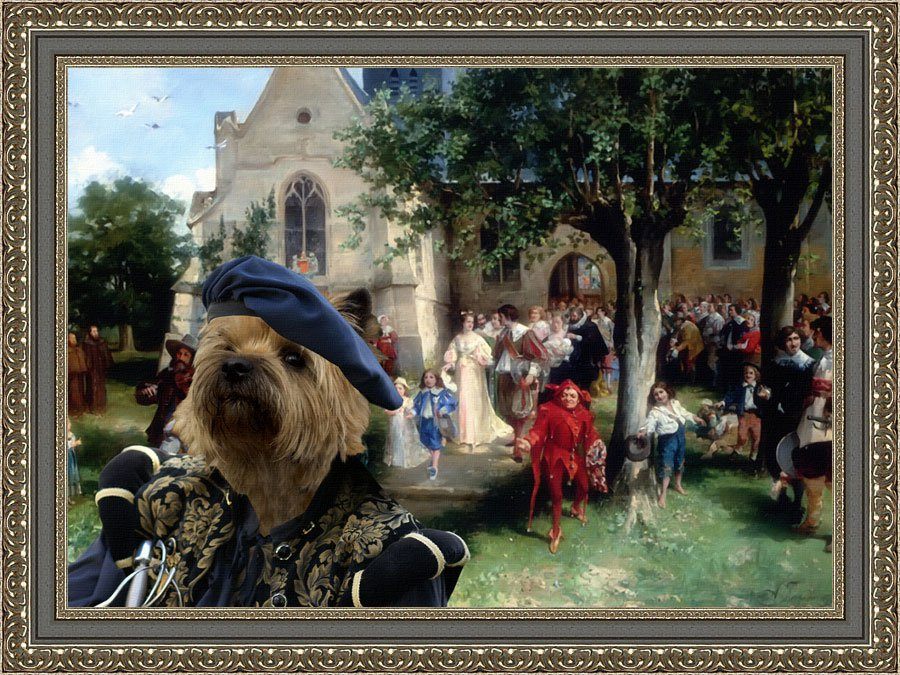 Cairn Terrier Fine Art Canvas Print - Vigny The Baptism