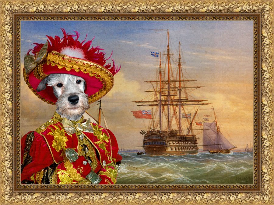 Cesky Terrier Fine Art Canvas Print - A Man o' War and other Shipping in a Ocean