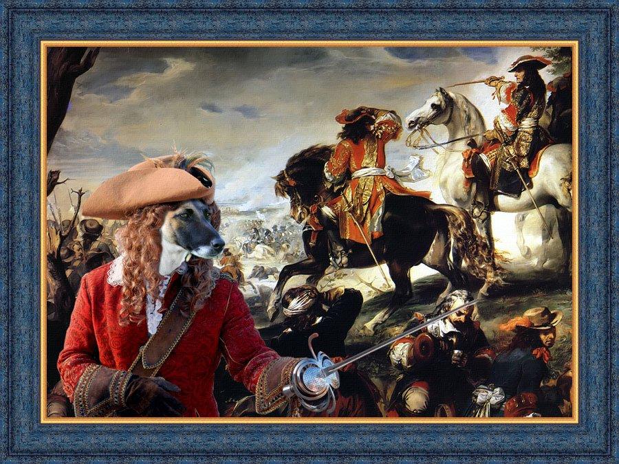 Fox Terrier Smooth Fine Art Canvas Print -  La Bataille de La Marsaille