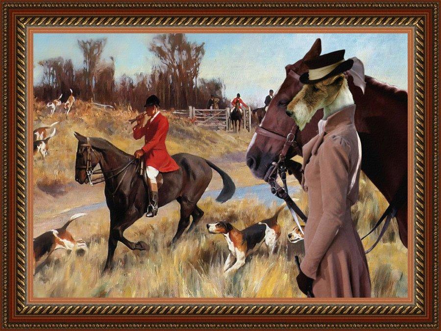 Fox Terrier Wire Fine Art Canvas Print - Foxhunt