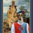 Fox Terrier Wire Fine Art Canvas Print - Troubadour and windmill