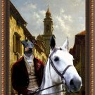 Manchester Terrier Fine Art Canvas Print -  Horserider in town street