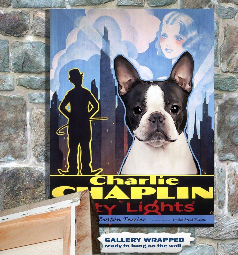 Boston Terrier Poster Canvas Print -  City Light