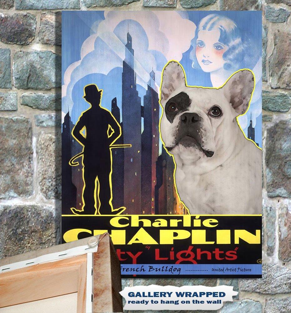 French Bulldog Poster Canvas Print -  City Light