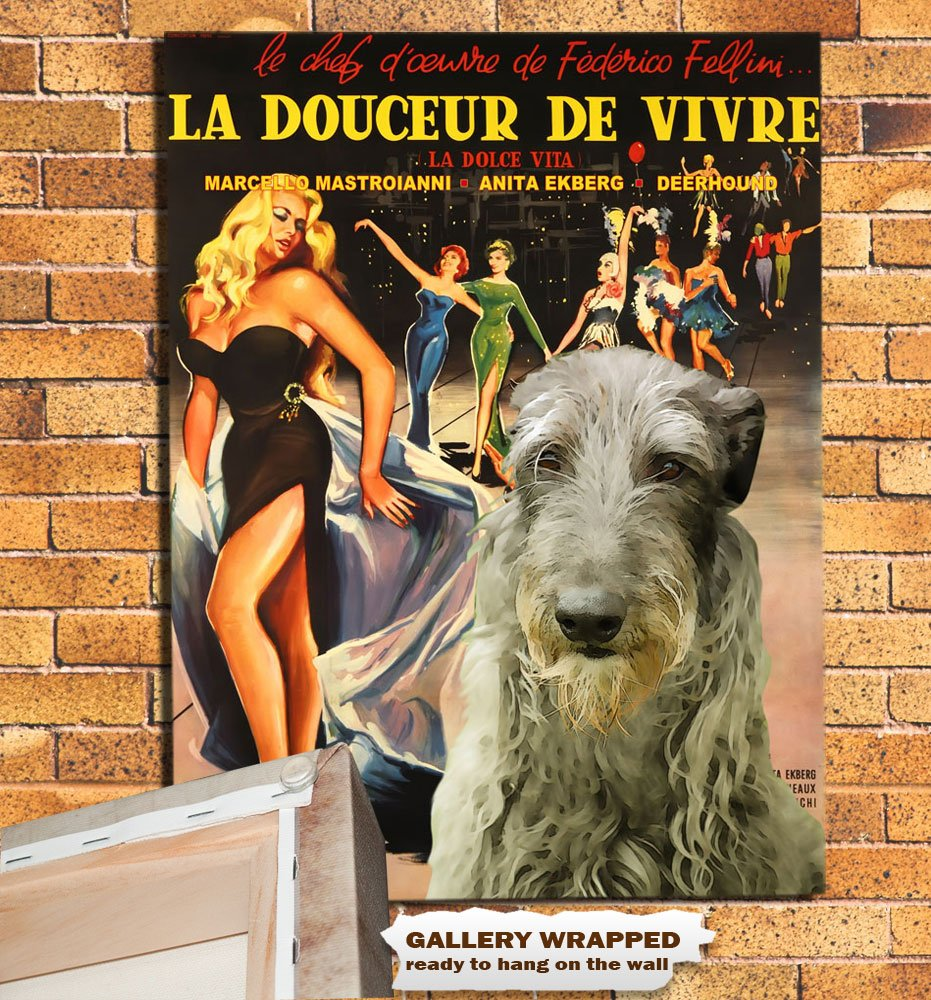 Scottish Deerhound Poster Art Canvas Print -  La Dolce Vita Movie Poster
