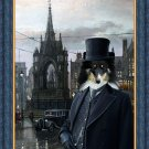 Shetland Sheepdog Fine Art Canvas Print - The square and Mr.Jack at dusk