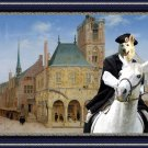 White Suisse Shepherd Fine Art Canvas Print - At the main square
