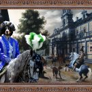 Bernese Mountain Dog Fine Art Canvas Print - Horseriders in a Palace Garden