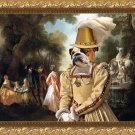 English Bulldog Fine Art Canvas Print - The noble party in Palace park